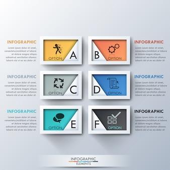 Moderne infographic optie keuze sjabloon met rechthoeken