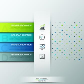 Moderne infographic optiebanner met 4 document linten