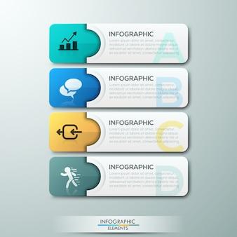 Moderne infographic optiebanner met document linten