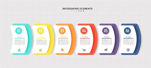 Moderne infographic sjabloon 6 opties.