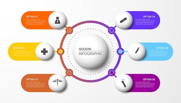 Moderne infographic sjabloon. het creatieve ontwerp van cirkelelementen met marketingpictogrammen. medisch concept met 6 opties, stappen, onderdelen.