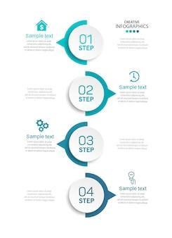 Moderne infographic sjabloon met 4 stappen voor het bedrijfsleven