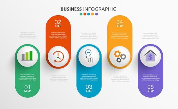 Moderne infographic sjabloon met 5 stappen voor het bedrijfsleven