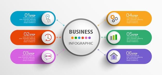 Moderne infographic sjabloon met 6 stappen voor het bedrijfsleven