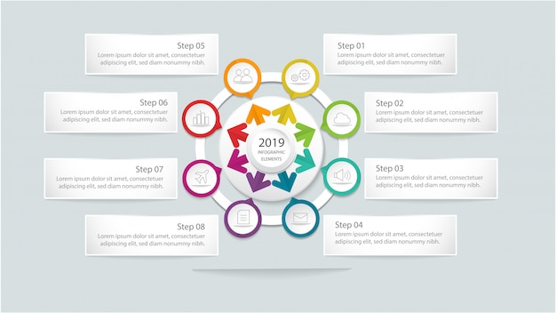 Moderne infographic sjabloon met cirkel en stappen of optie voor workflow-indeling, diagram, opties voor alineanummering, intensiveren van opties