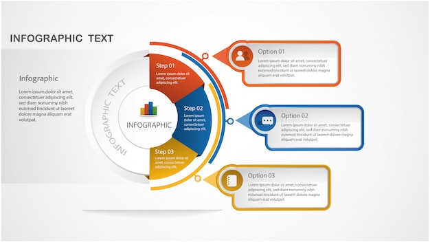 Moderne infographic sjabloon met cirkelvorm en met stappen voor workflow-indeling, diagram, nummeropties, opties opvoeren