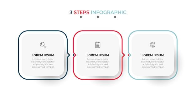 Moderne infographic sjabloon met pictogrammen en pijlen