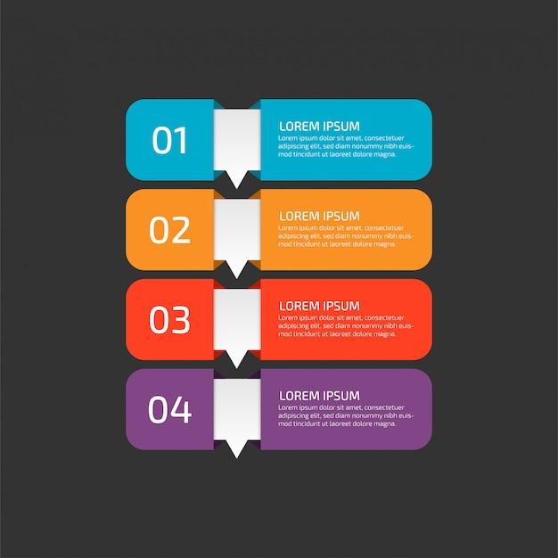 Moderne infographic sjabloon met stappen voor het bedrijfsleven