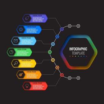 Moderne infographic sjabloon met zeven veelkleurige zeshoekige elementen en dunne lijnpictogrammen