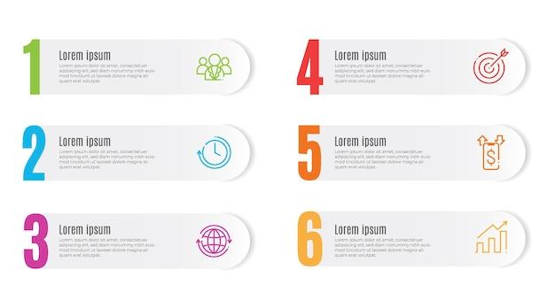 Moderne infographic sjabloonelementen 6 opties