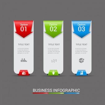 Moderne infographic-sjabloonelementen drie stappen