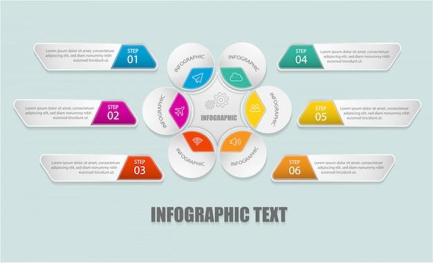 Moderne infographic tempel met cirkel en tekstvakken voor optie.