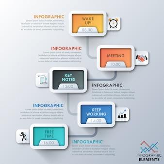 Moderne infographic tijdlijn met rechthoeken