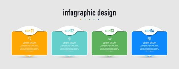 Moderne infographic zakelijke ontwerpsjabloon en met workflow voor optienummers in vier stappen