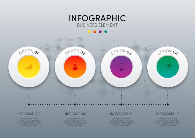 Moderne infographic zakelijke sjabloon en gegevensvisualisatie met 4 opties