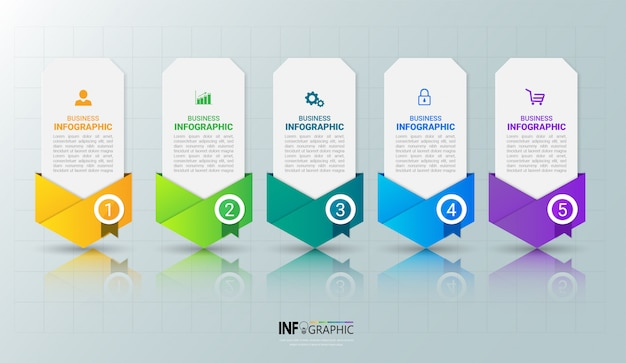 Moderne infographics 5 stappen sjabloon