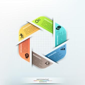 Moderne infographics cyclus papieren sjabloon