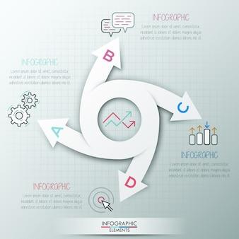Moderne infographics cyclus sjabloon met 4 papieren pijlen