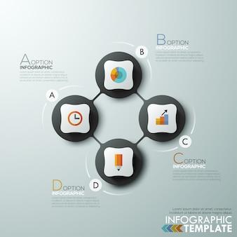 Moderne infographics cyclus sjabloon met 4 verbonden cirkels