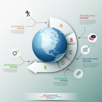 Moderne infographics globale sjabloon voor 5 opties
