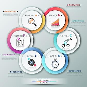 Moderne infographics opties sjabloon met 6 kleurrijke linten
