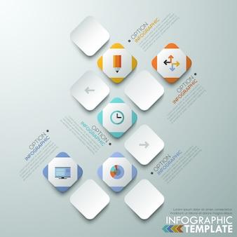 Moderne infographics papier processjabloon