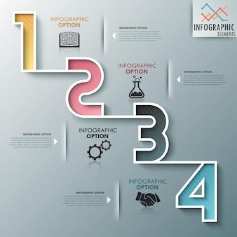 Moderne infographics proces sjabloon met kleurrijke nummers