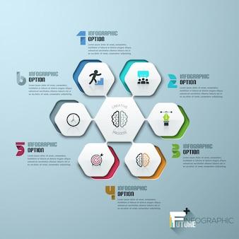 Moderne infographics proces sjabloon met vellen papier