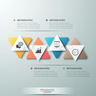 Moderne infographics processjabloon met 4 papier driehoeken