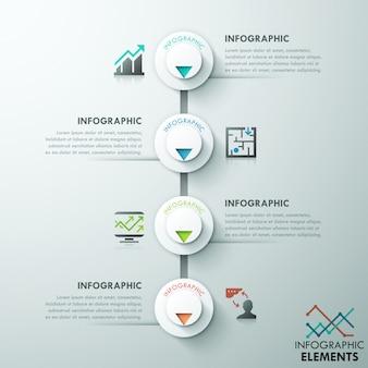 Moderne infographics processjabloon met 4 papieren cirkels