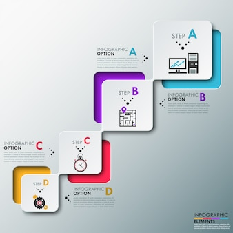 Moderne infographics processjabloon
