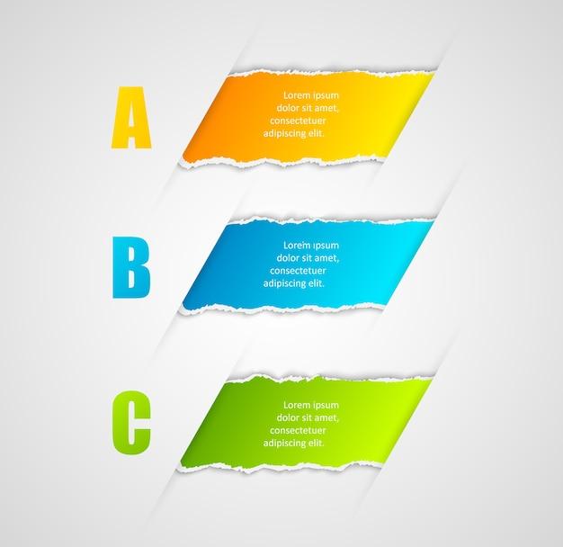 Moderne infographics sjabloon gescheurd papier stijl. aantal opties voor brochure of webdesign