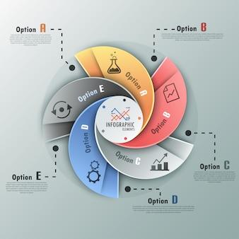 Moderne infographics spiraal opties banner