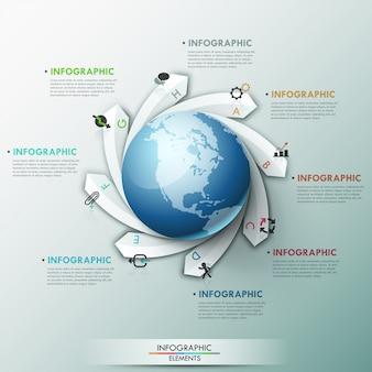 Moderne infographics wereldwijde sjabloon
