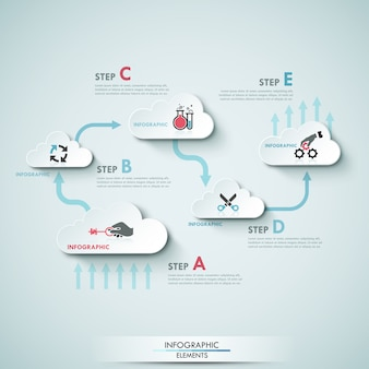 Moderne infographics wolk proces sjabloon