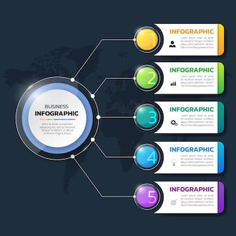 Moderne infographicsmalplaatje met transparante stijl.
