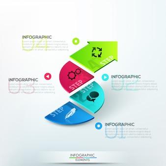 Moderne infographicsoptiesbanner met 3d pijl