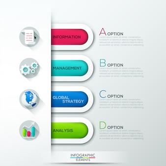 Moderne infographicsoptiesbanner met 4 document linten