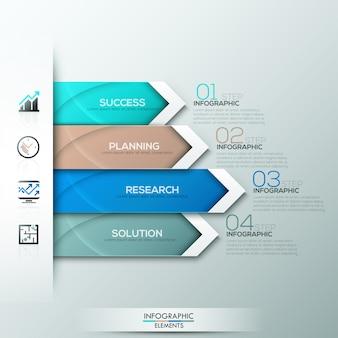 Moderne infographicsoptiesbanner met document pijlen