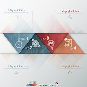 Moderne infographicsoptiesbanner met driehoeken