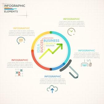 Moderne infographicsoptiesbanner met kleurrijke meer magnifier