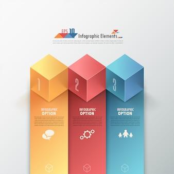 Moderne infographicsoptiesbanner met kubussen