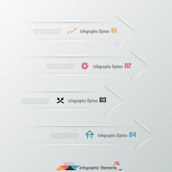 Moderne infographicsoptiesbanner met pijlen
