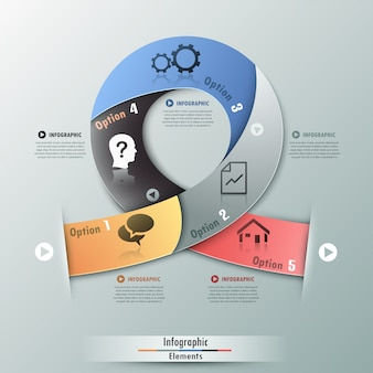 Moderne infographicsoptiesbanner met realistisch lint