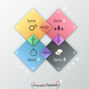 Moderne infographicsoptiesbanner met rechthoeken