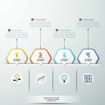 Moderne infographicsprocesmalplaatje met 4 document veelhoeken