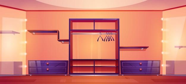 Moderne inloopkast met garderobekast en planken voor kleding