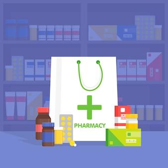 Moderne interieurapotheek en drogisterij. verkoop van vitamines en medicijnen