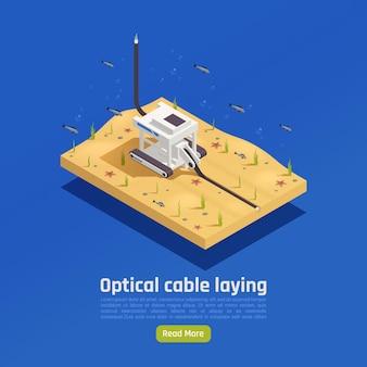 Moderne internet 5g-communicatietechnologie isometrische samenstelling met afbeelding van geautomatiseerde machine die kabel in onderwater installeert