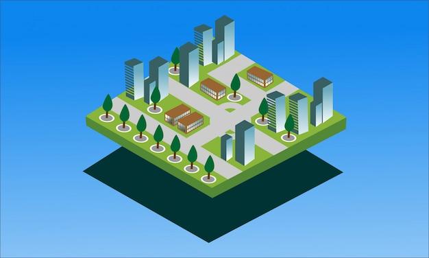 Moderne isometrische banner van slimme stad